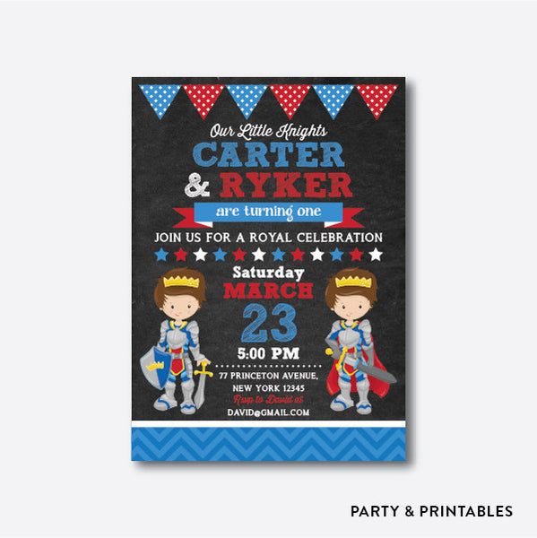 Knights Chalkboard Kids Birthday Invitation / Personalized (CKB.241), invitation - Party and Printables