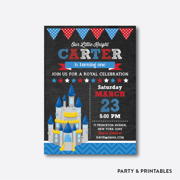 Knight Castle Chalkboard Kids Birthday Invitation / Personalized (CKB.242), invitation - Party and Printables