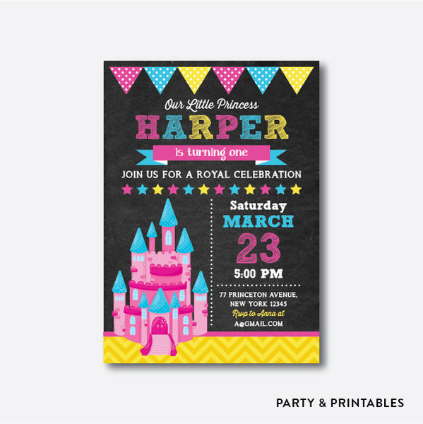 Princess Castle Chalkboard Kids Birthday Invitation / Personalized (CKB.247), invitation - Party and Printables