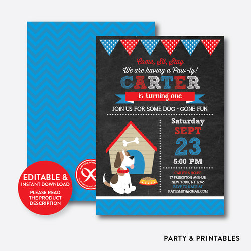 Little Dog Chalkboard Kids Birthday Invitation / Editable / Instant Download (CKB.25B)