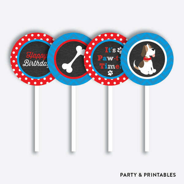 Little Dog Chalkboard Cupcake Toppers / Non-Personalized / Instant Download (CKB.25)