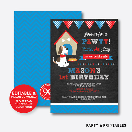 Little Dog Chalkboard Kids Birthday Invitation / Editable / Instant Download (CKB.25)