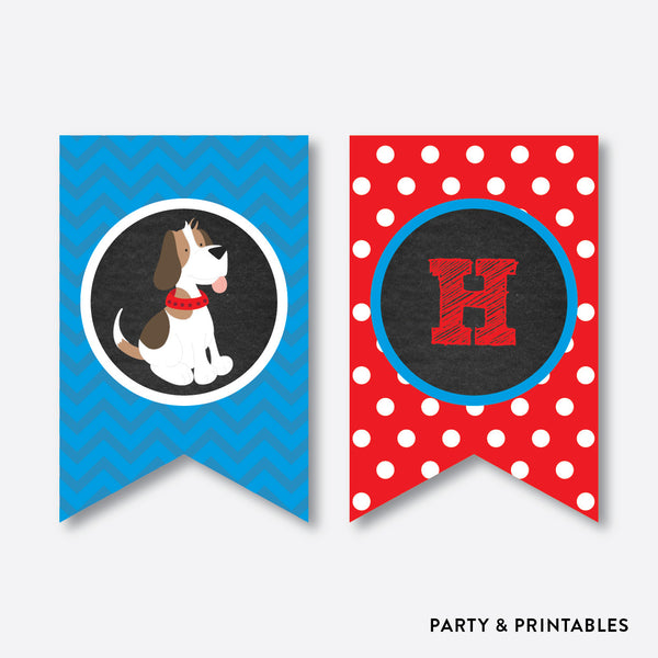 Little Dog Chalkboard Party Banner / Happy Birthday Banner / Non-Personalized / Instant Download (CKB.25)