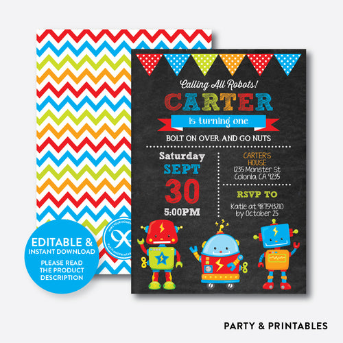 Robot and Friends Chalkboard Kids Birthday Invitation / Editable / Instant Download (CKB.261)