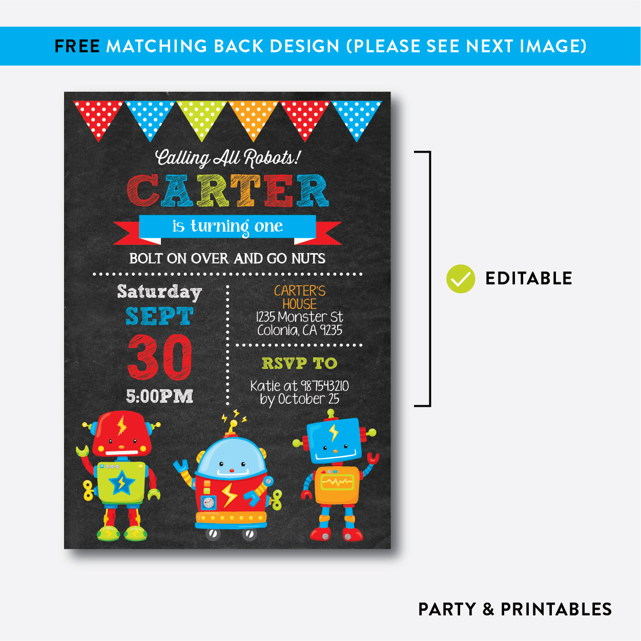 Robot and Friends Chalkboard Kids Birthday Invitation / Editable / Instant Download (CKB.261), invitation - Party and Printables