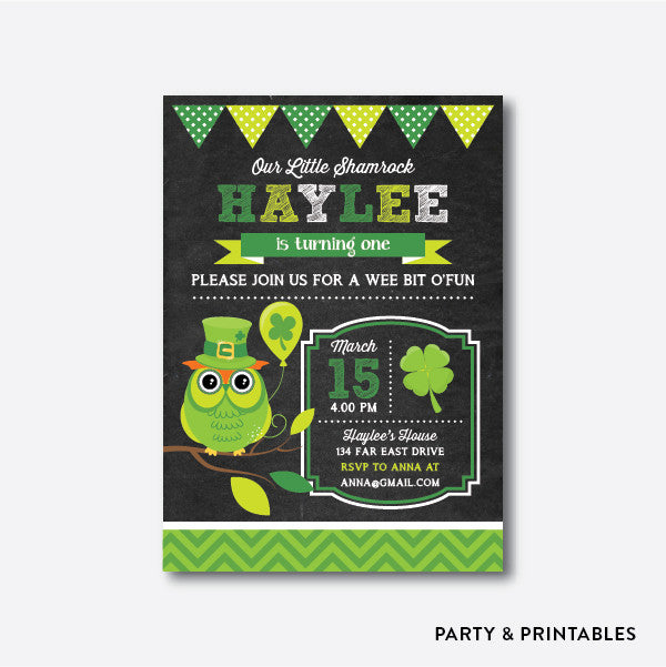 St Patrick Owl Chalkboard Kids Birthday Invitation / Personalized (CKB.268), invitation - Party and Printables