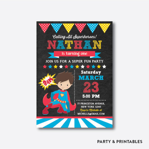 Superhero Boy Chalkboard Kids Birthday Invitation / Personalized (CKB.269)