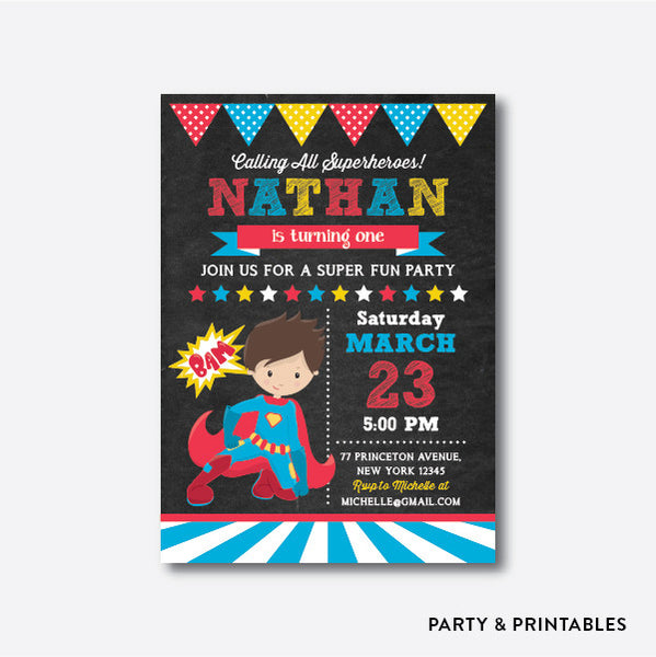 Superhero Boy Chalkboard Kids Birthday Invitation / Personalized (CKB.269), invitation - Party and Printables