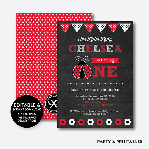 Lady Bug Chalkboard 1st Birthday Invitation / Editable / Instant Download (CKB.26B)