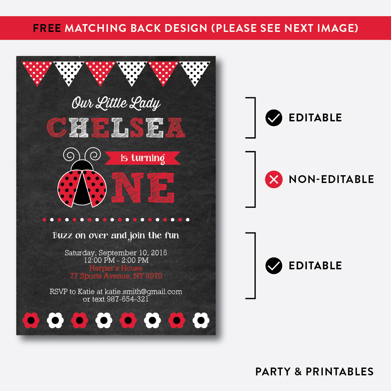 Lady bug chalkboard 1st birthday invitation editable instant lady bug chalkboard 1st birthday invitation editable instant download ckb26b filmwisefo