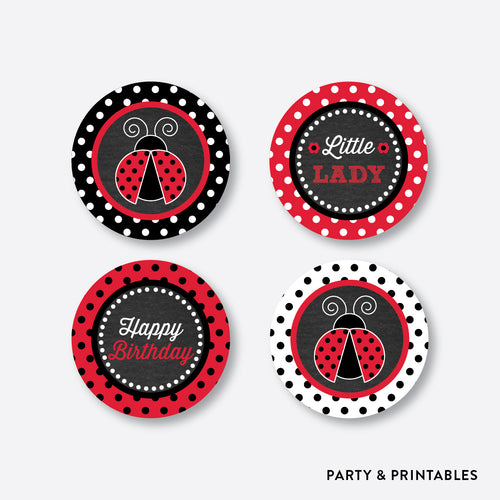 Ladybug Chalkboard Cupcake Toppers / Non-Personalized / Instant Download (CKB.26)
