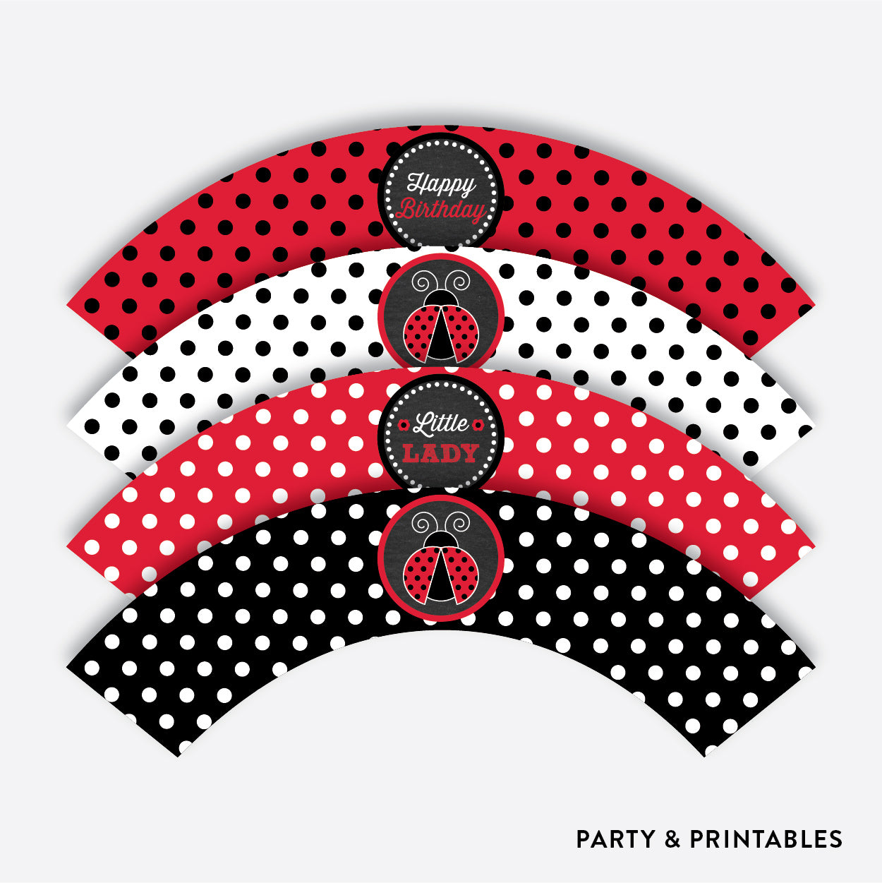 Ladybug Chalkboard Cupcake Wrappers / Non-Personalized / Instant Download (CKB.26), party printables - Party and Printables