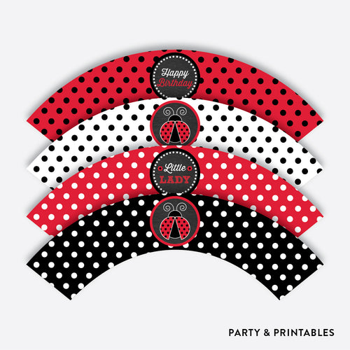 Ladybug Chalkboard Cupcake Wrappers / Non-Personalized / Instant Download (CKB.26)