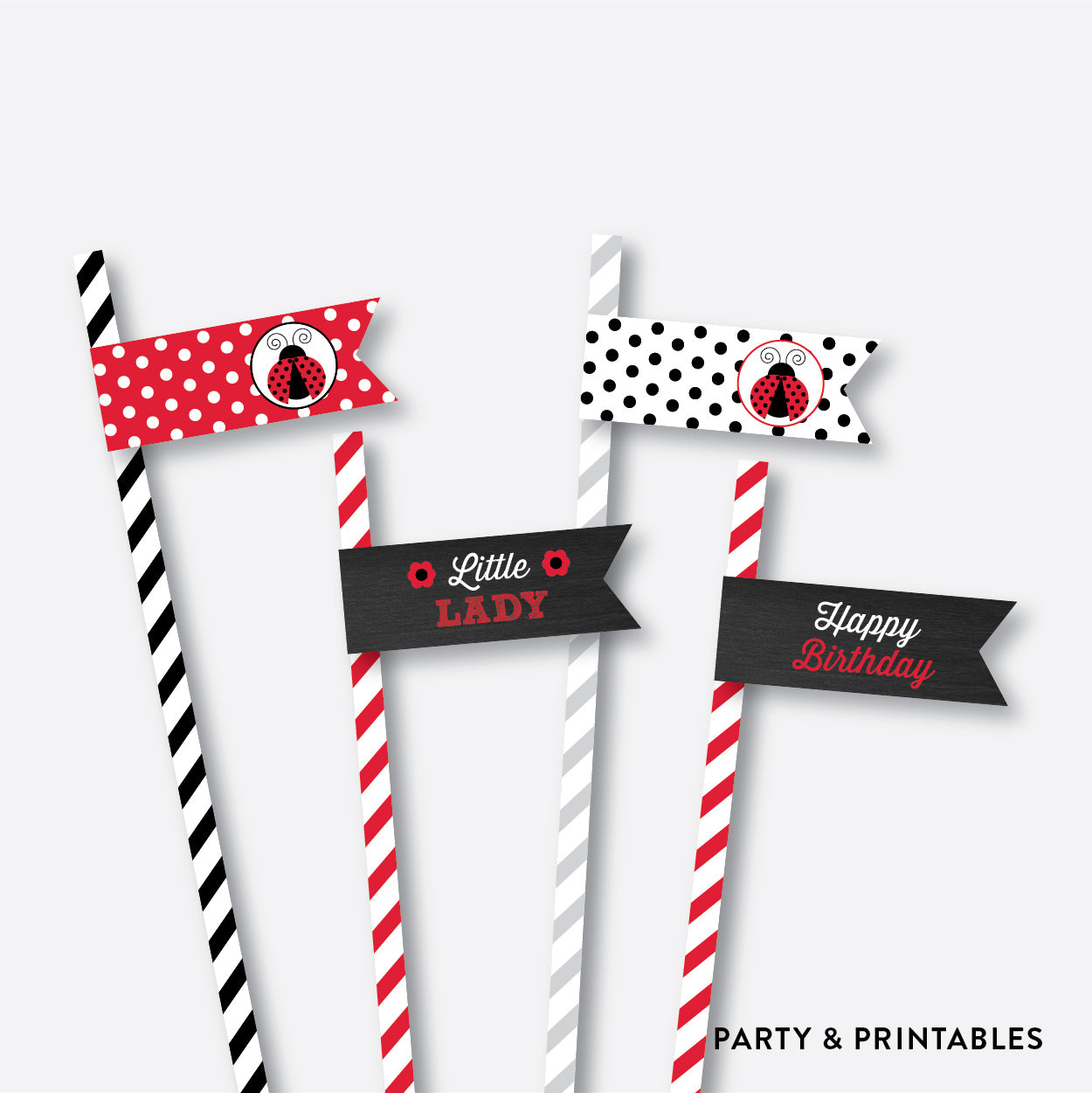 Ladybug Chalkboard Straw Flags / Non-Personalized / Instant Download (CKB.26), party printables - Party and Printables