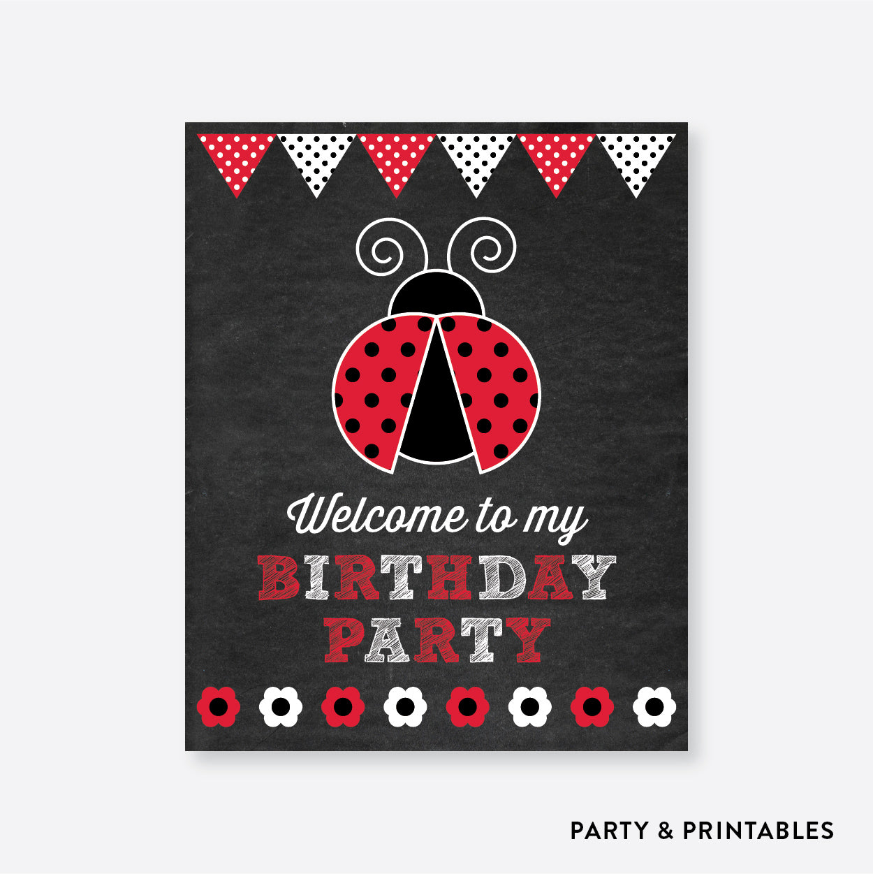 Ladybug Chalkboard Welcome Sign / Non-Personalized / Instant Download (CKB.26), party printables - Party and Printables