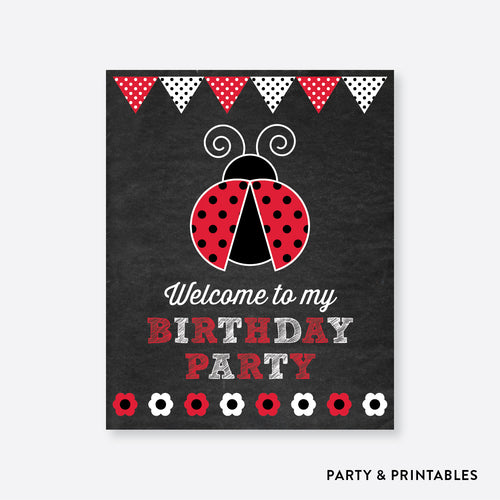 Ladybug Chalkboard Welcome Sign / Non-Personalized / Instant Download (CKB.26)