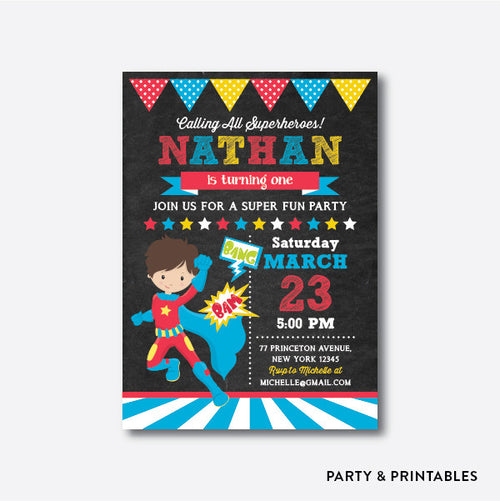 Superhero Boy Chalkboard Kids Birthday Invitation / Personalized (CKB.270)