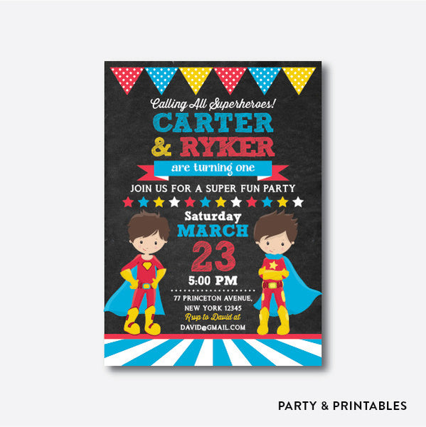 Superheroes Boy Chalkboard Kids Birthday Invitation / Personalized (CKB.271), invitation - Party and Printables