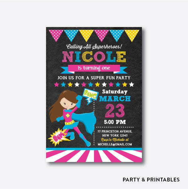 Superhero Girl Chalkboard Kids Birthday Invitation / Personalized (CKB.272), invitation - Party and Printables