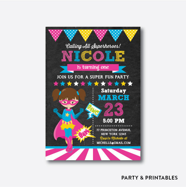 Superhero Girl Chalkboard Kids Birthday Invitation / Personalized (CKB.273), invitation - Party and Printables