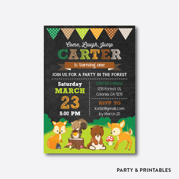 Woodland Animals Chalkboard Kids Birthday Invitation / Personalized (CKB.276), invitation - Party and Printables