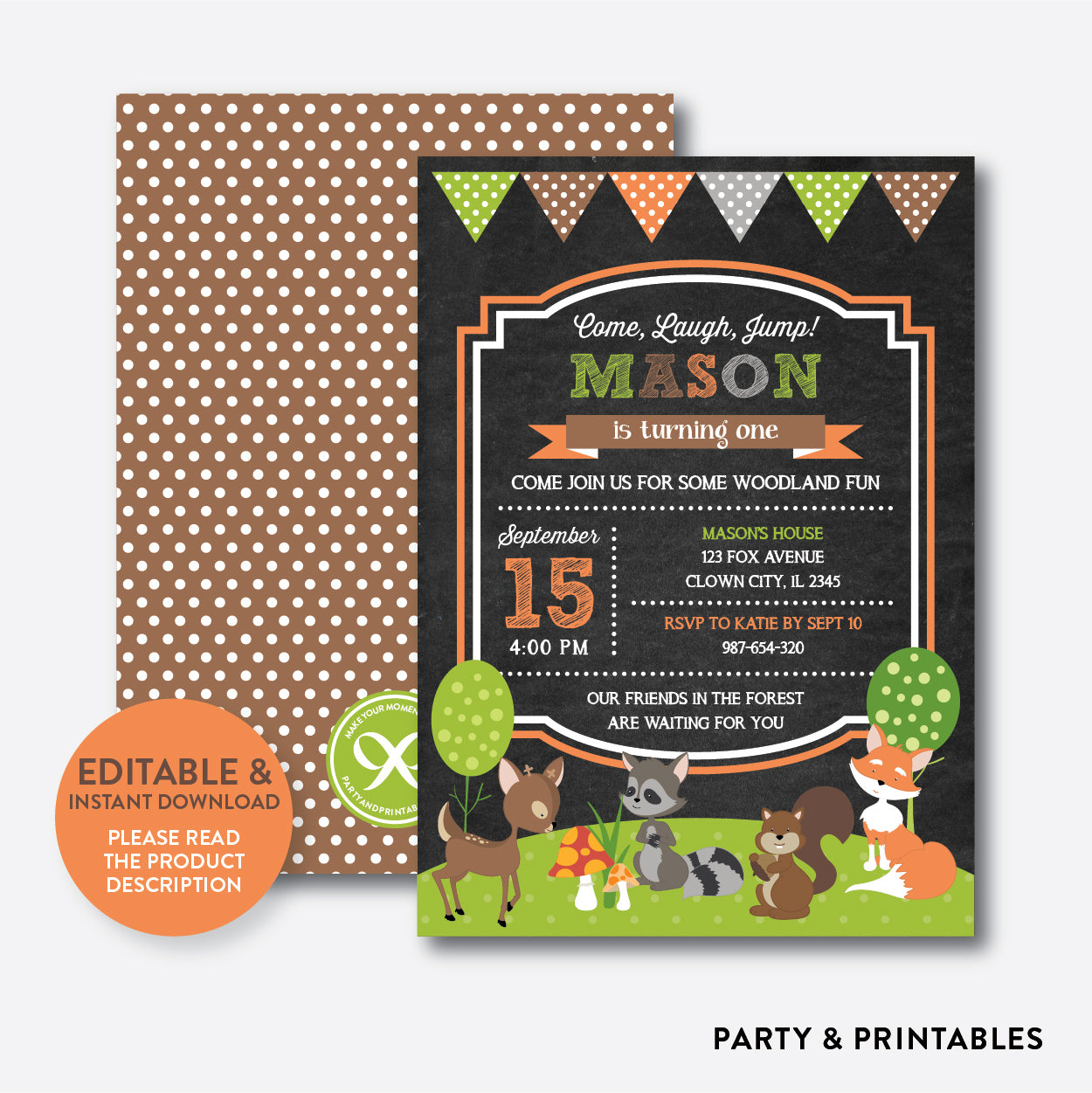 Forest Friends Chalkboard Kids Birthday Invitation / Editable / Instant Download (CKB.27B), invitation - Party and Printables