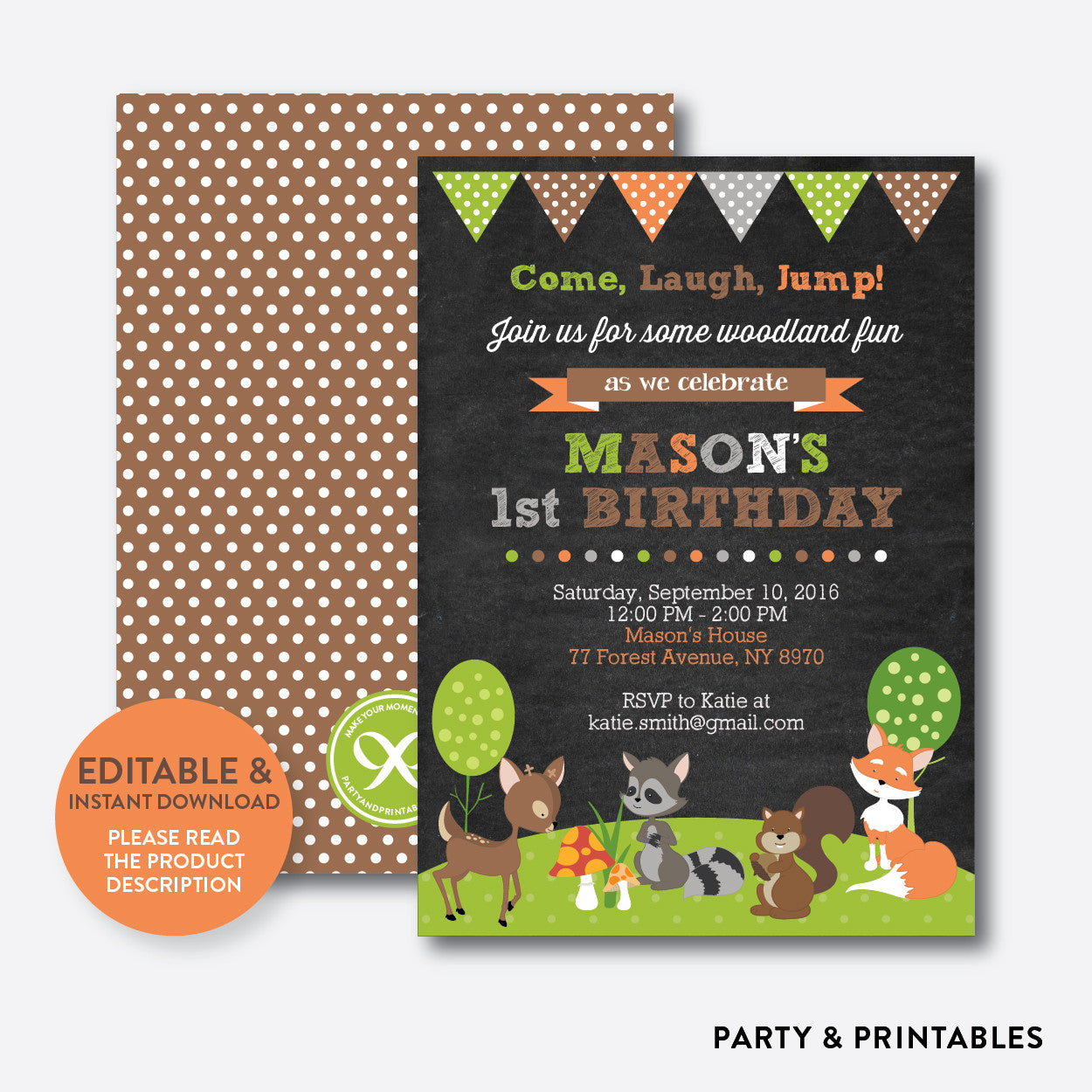 Forest Friends Chalkboard Kids Birthday Invitation / Editable / Instant Download (CKB.27), invitation - Party and Printables