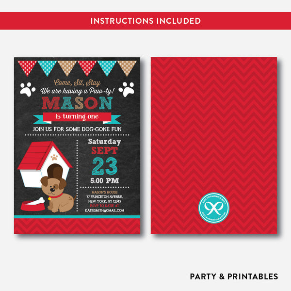 Dog Pawty Chalkboard Kids Birthday Invitation / Editable / Instant Download (CKB.285), invitation - Party and Printables