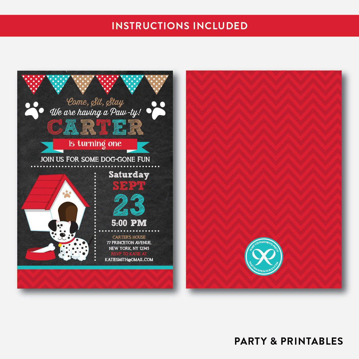 Dog Pawty Chalkboard Kids Birthday Invitation / Editable / Instant Download (CKB.286), invitation - Party and Printables