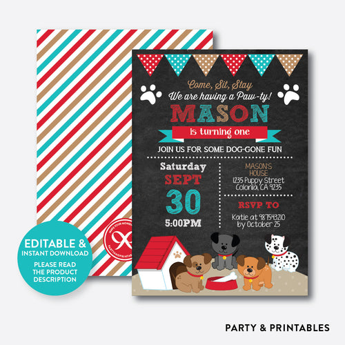 Dog Pawty Chalkboard Kids Birthday Invitation / Editable / Instant Download (CKB.287B)