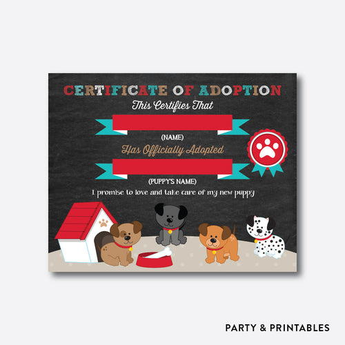 Dog Pawty Chalkboard Adoption Certificate / Non-Personalized / Instant Download (CKB.287)