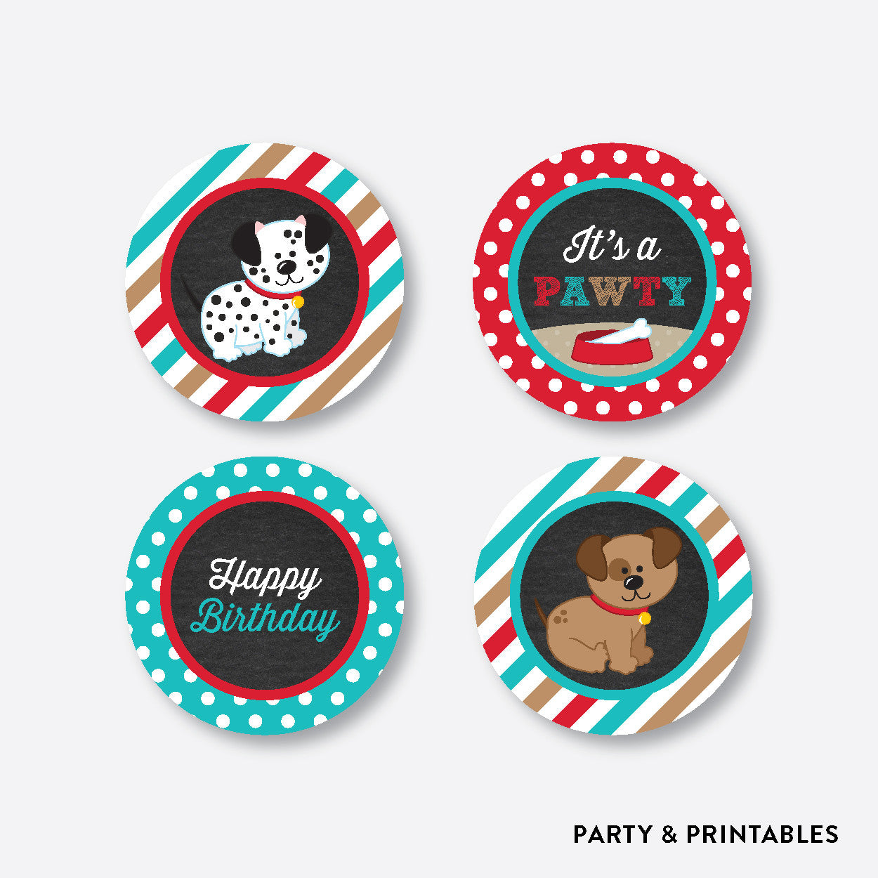 Dog Pawty Chalkboard Cupcake Toppers / Non-Personalized / Instant Download (CKB.287), party printables - Party and Printables
