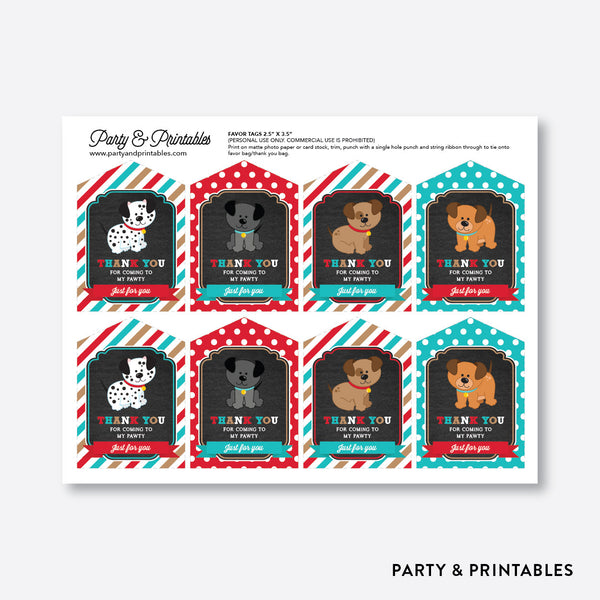 Dog Pawty Chalkboard Favor Tags / Non-Personalized / Instant Download (CKB.287), party printables - Party and Printables