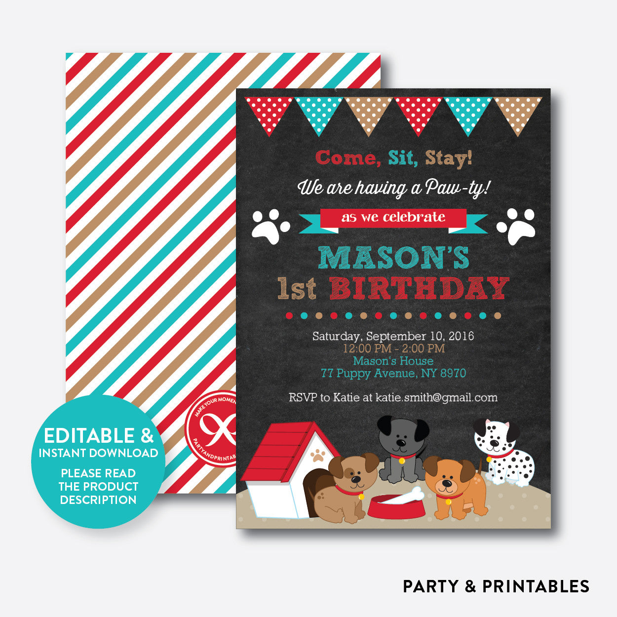 Dog Pawty Chalkboard Kids Birthday Invitation / Editable / Instant Download (CKB.287), invitation - Party and Printables