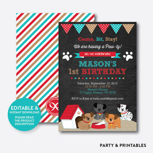 Dog Pawty Chalkboard Kids Birthday Invitation / Editable / Instant Download (CKB.287)