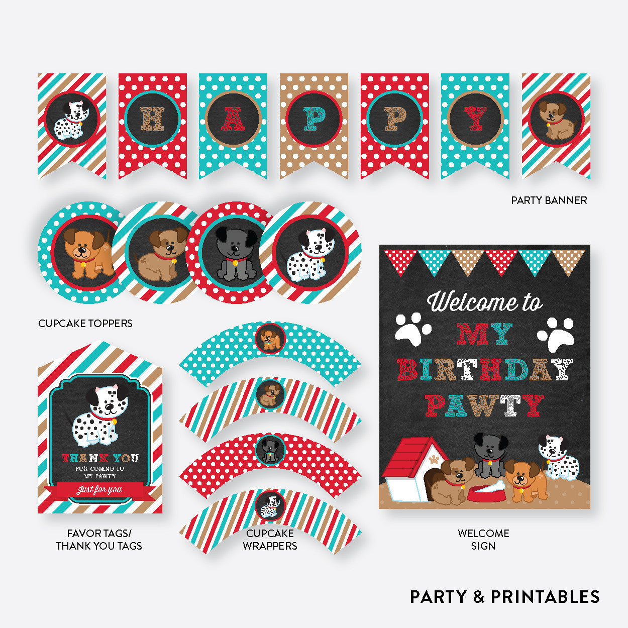 Dog Pawty Chalkboard Standard Kids Birthday Party Package / Non-Personalized / Instant Download (CKB.287), party package - Party and Printables