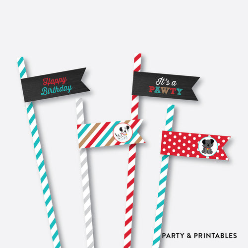 Dog Pawty Chalkboard Straw Flags / Non-Personalized / Instant Download (CKB.287)