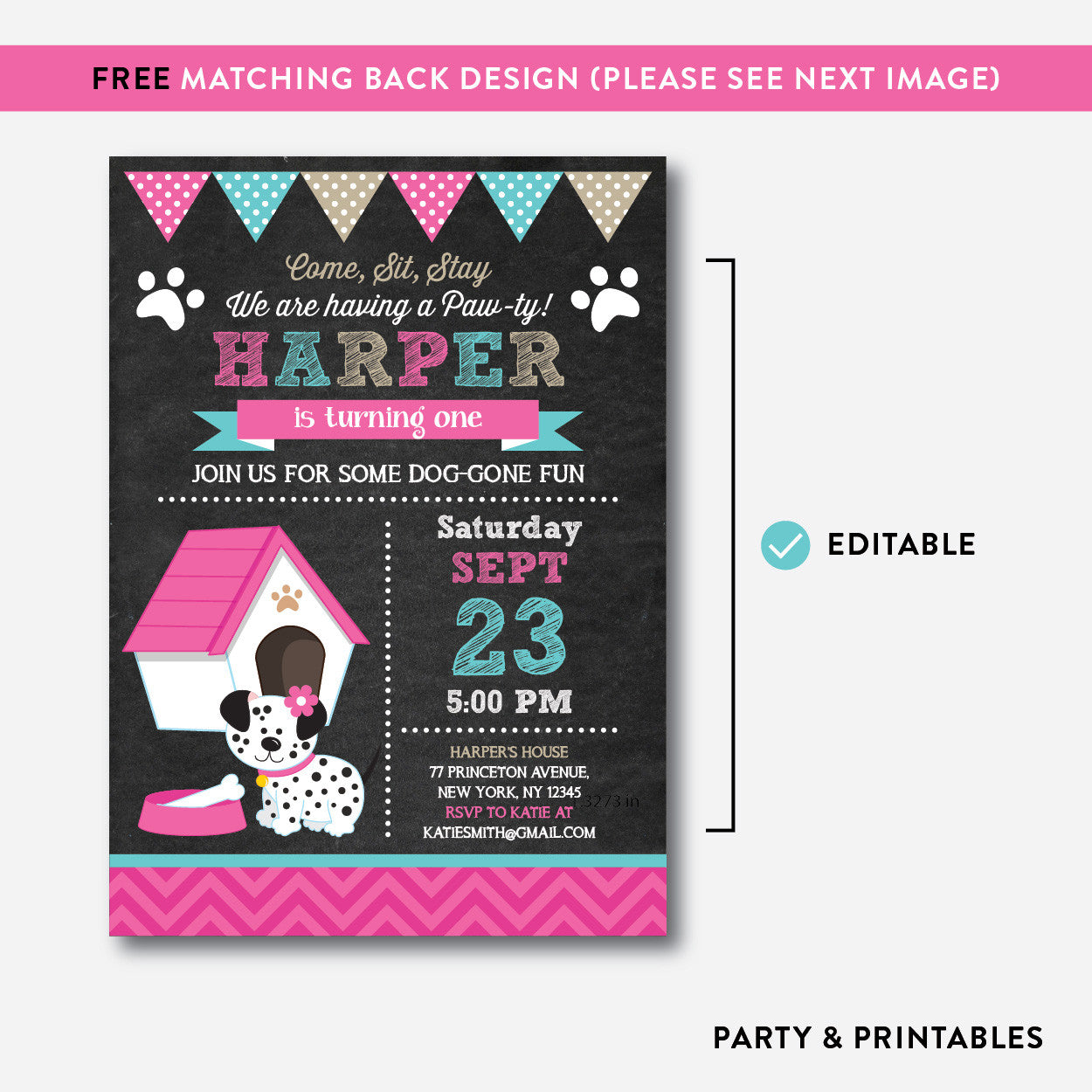 Dog Pawty Chalkboard Kids Birthday Invitation / Editable / Instant Download (CKB.289), invitation - Party and Printables
