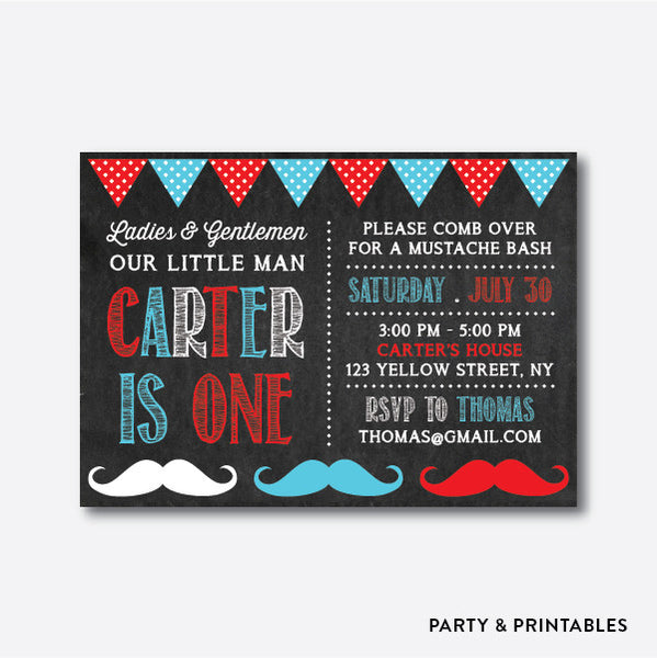 Mustaches Chalkboard Kids Birthday Invitation / Personalized (CKB.28), invitation - Party and Printables