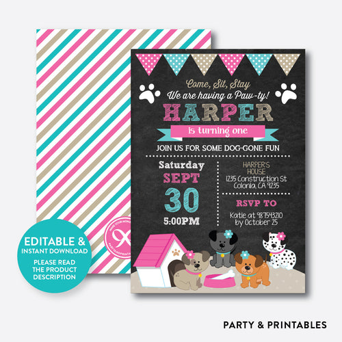 Dog Pawty Chalkboard Kids Birthday Invitation / Editable / Instant Download (CKB.290B)