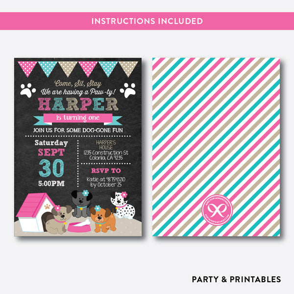 Dog Pawty Chalkboard Kids Birthday Invitation / Editable / Instant Download (CKB.290B), invitation - Party and Printables