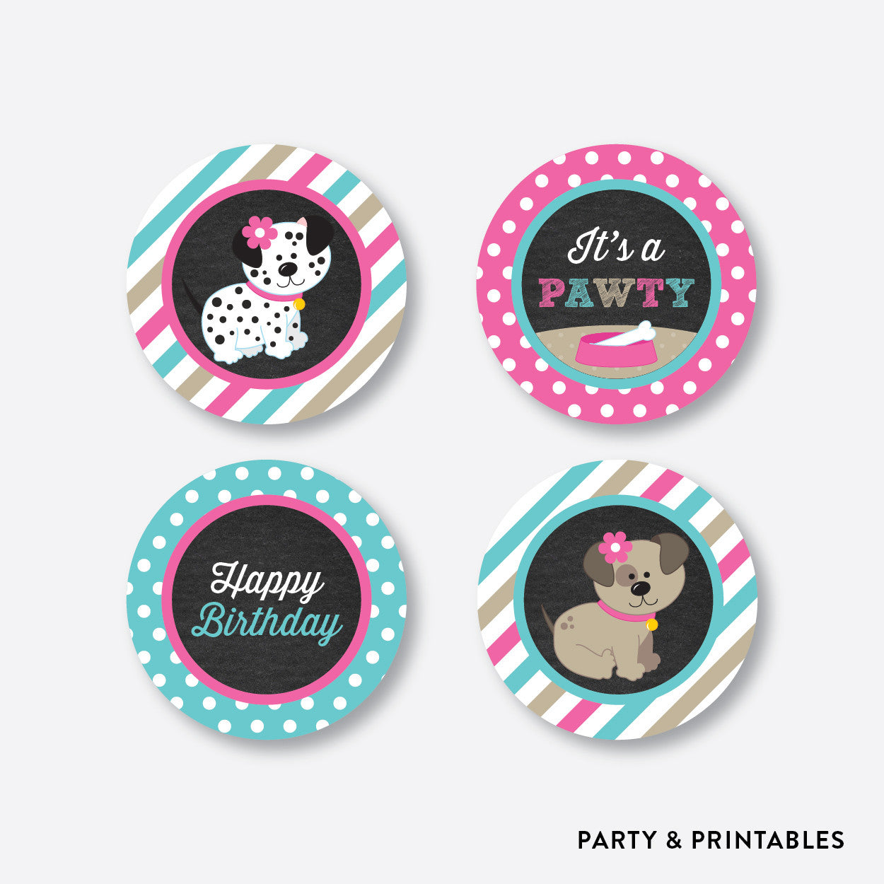Dog Pawty Chalkboard Cupcake Toppers / Non-Personalized / Instant Download (CKB.290), party printables - Party and Printables