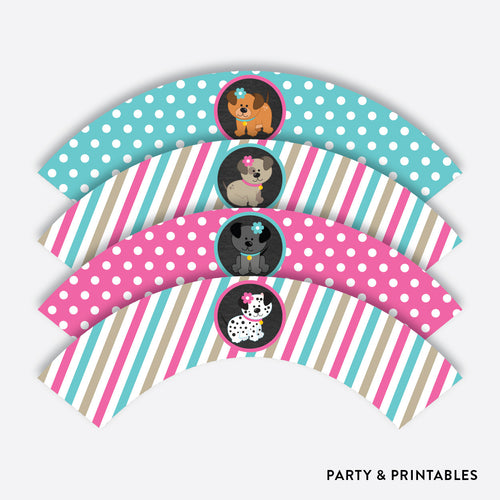 Dog Pawty Chalkboard Cupcake Wrappers / Non-Personalized / Instant Download (CKB.290)