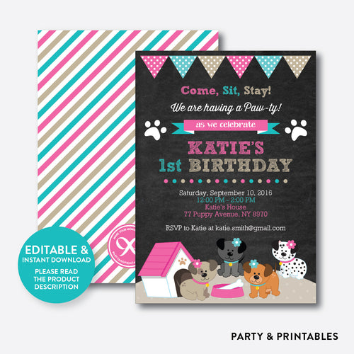 Dog Pawty Chalkboard Kids Birthday Invitation / Editable / Instant Download (CKB.290)