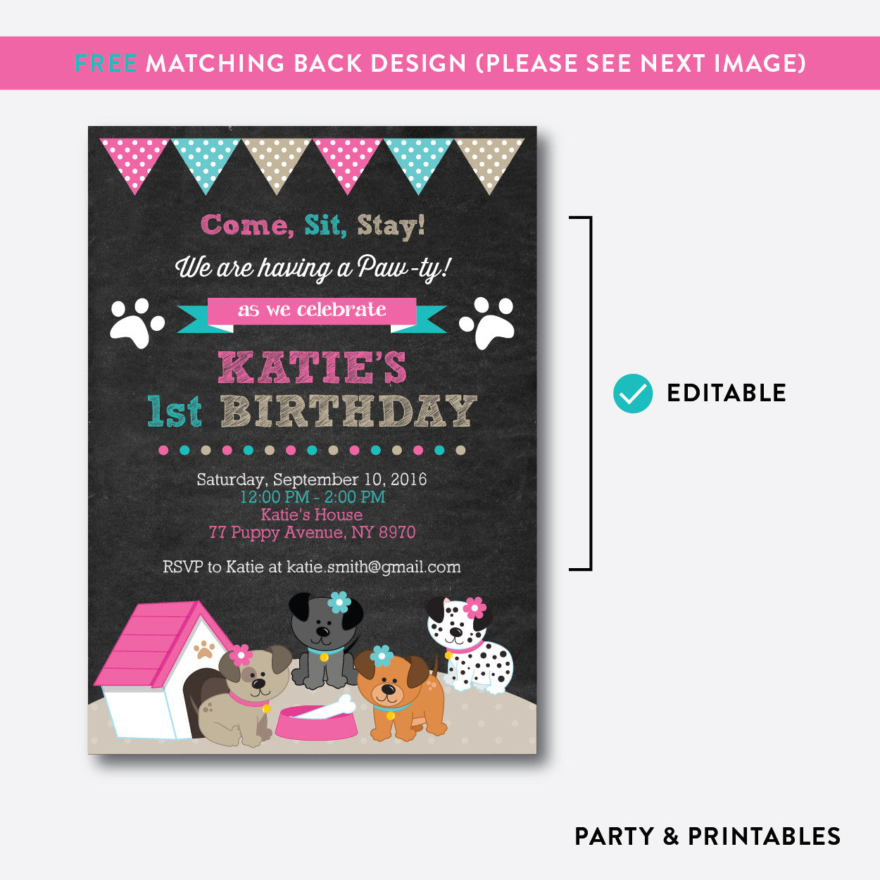 Dog Pawty Chalkboard Kids Birthday Invitation / Editable / Instant Download (CKB.290), invitation - Party and Printables