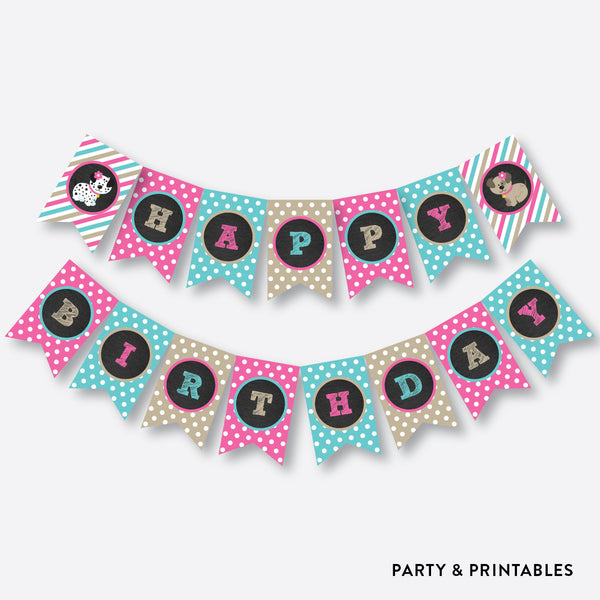 Dog Pawty Chalkboard Party Banner / Happy Birthday Banner / Non-Personalized / Instant Download (CKB.290), party printables - Party and Printables