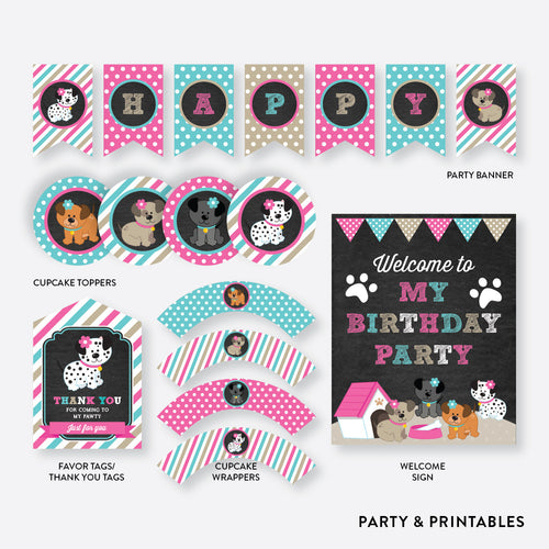 Dog Pawty Girl Chalkboard Standard Kids Birthday Party Package / Non-Personalized / Instant Download (CKB.290)