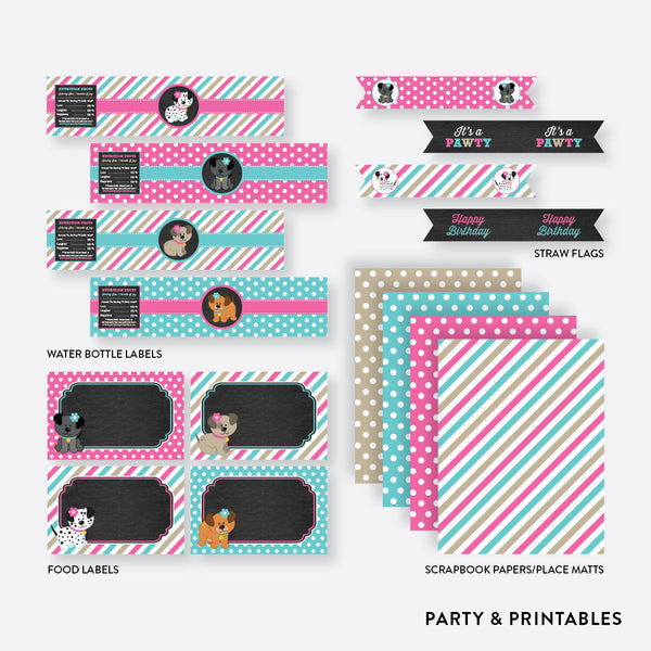Dog Pawty Chalkboard Standard Kids Birthday Party Package / Non-Personalized / Instant Download (CKB.290), party package - Party and Printables