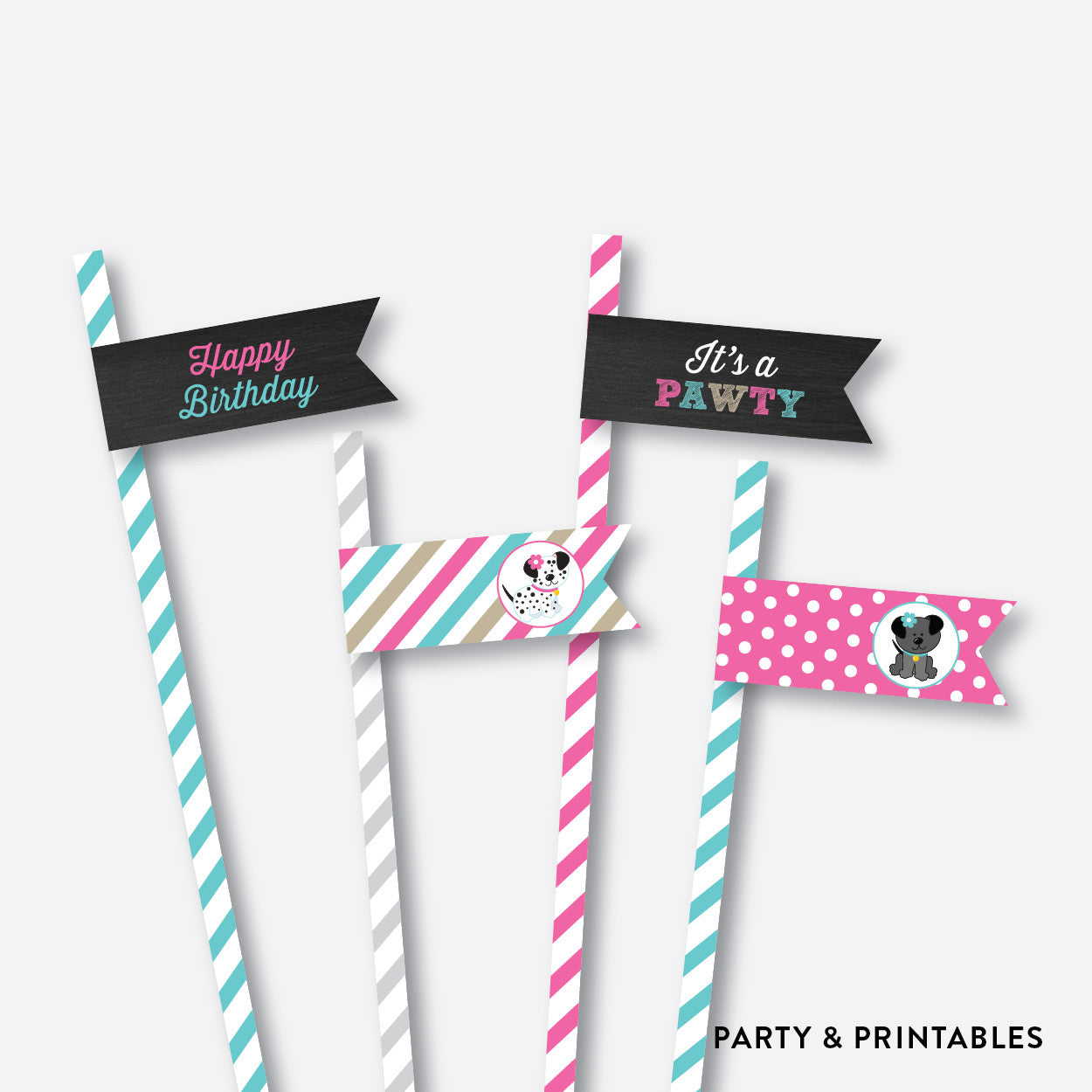Dog Pawty Chalkboard Straw Flags / Non-Personalized / Instant Download (CKB.290), party printables - Party and Printables