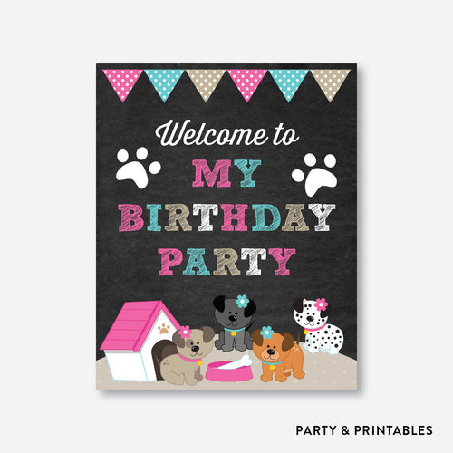 Dog Pawty Girl Chalkboard Welcome Sign / Non-Personalized / Instant Download (CKB.290)